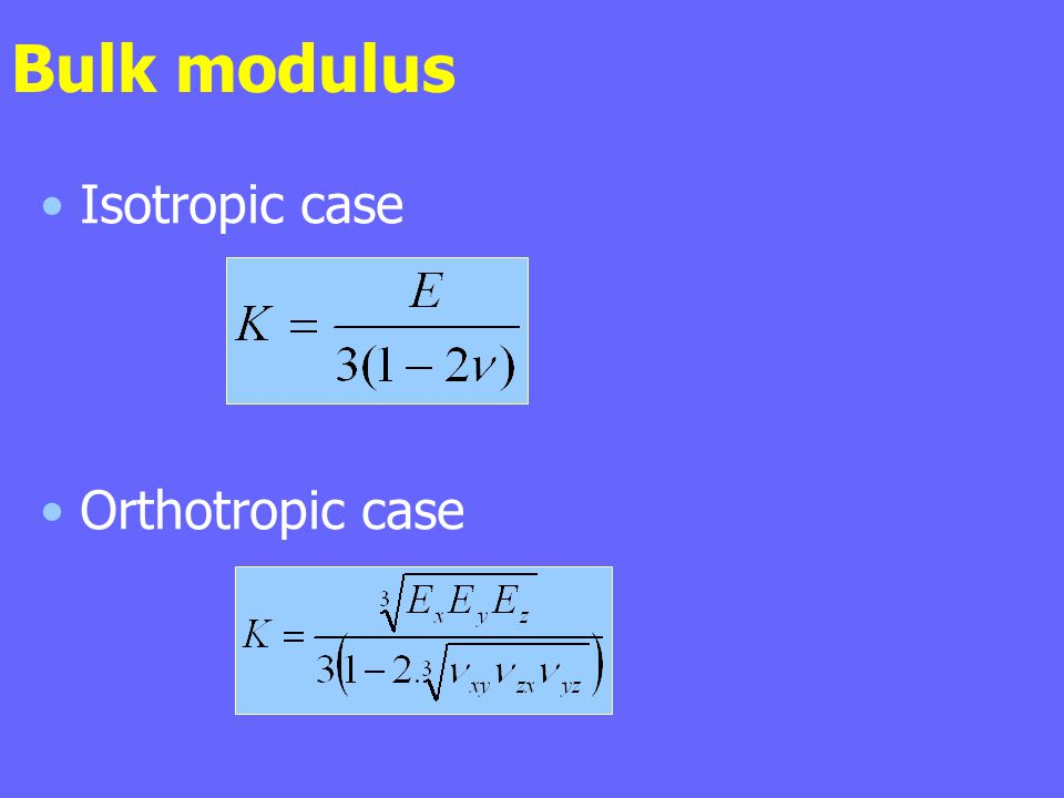 Bulk modulus Isotropic case Orthotropic case