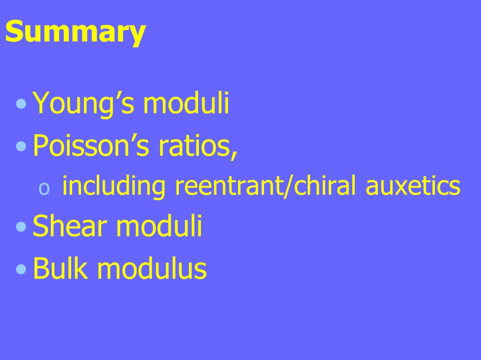 Summary Young's moduli Poisson's ratios, Shear moduli Bulk modulus