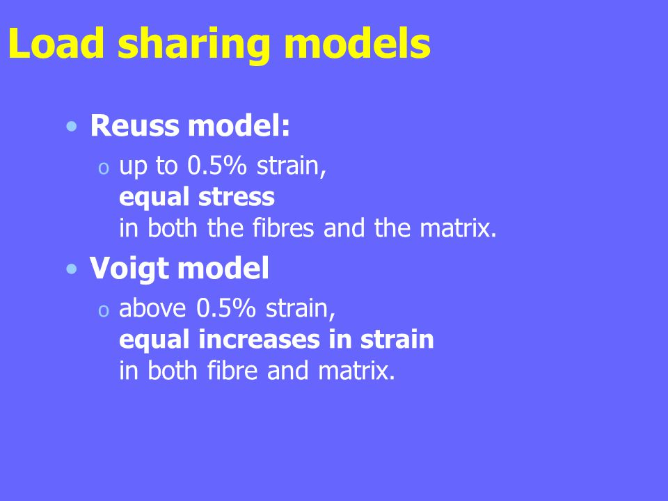 Load sharing models Reuss model: Voigt model