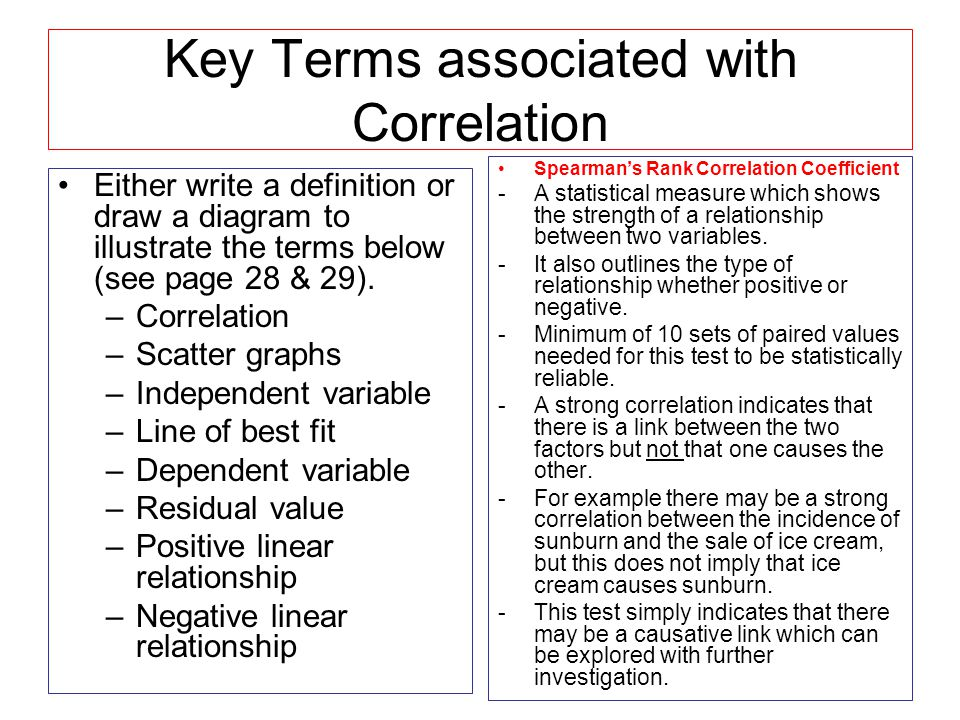 Key Terms associated with Correlation
