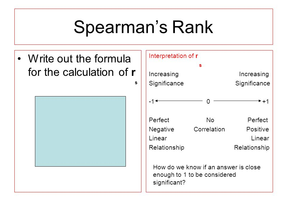 Spearman's Rank Write out the formula for the calculation of r