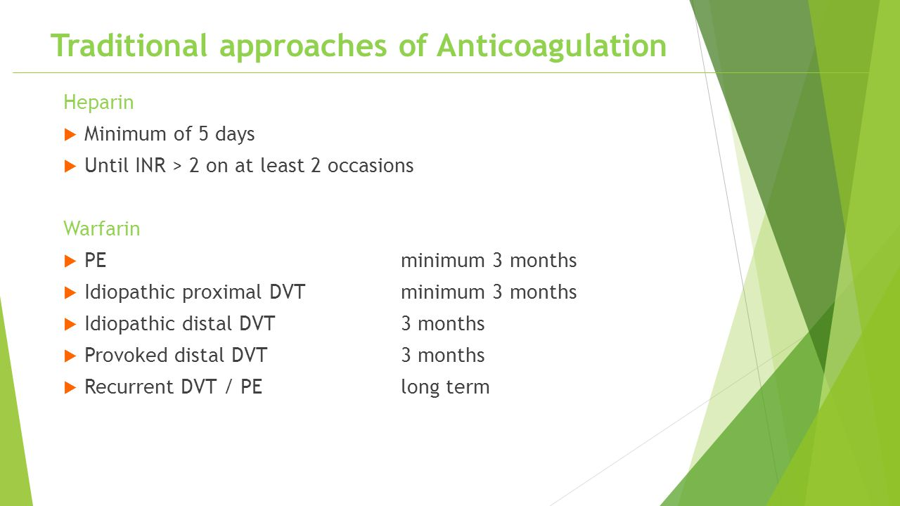 Traditional approaches of Anticoagulation
