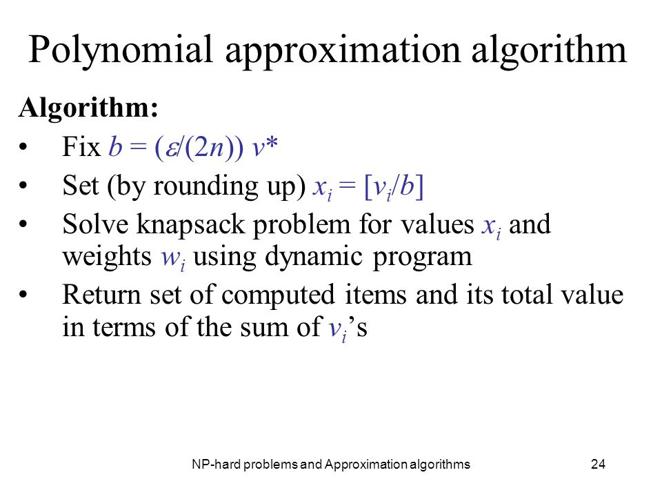 Polynomial approximation algorithm