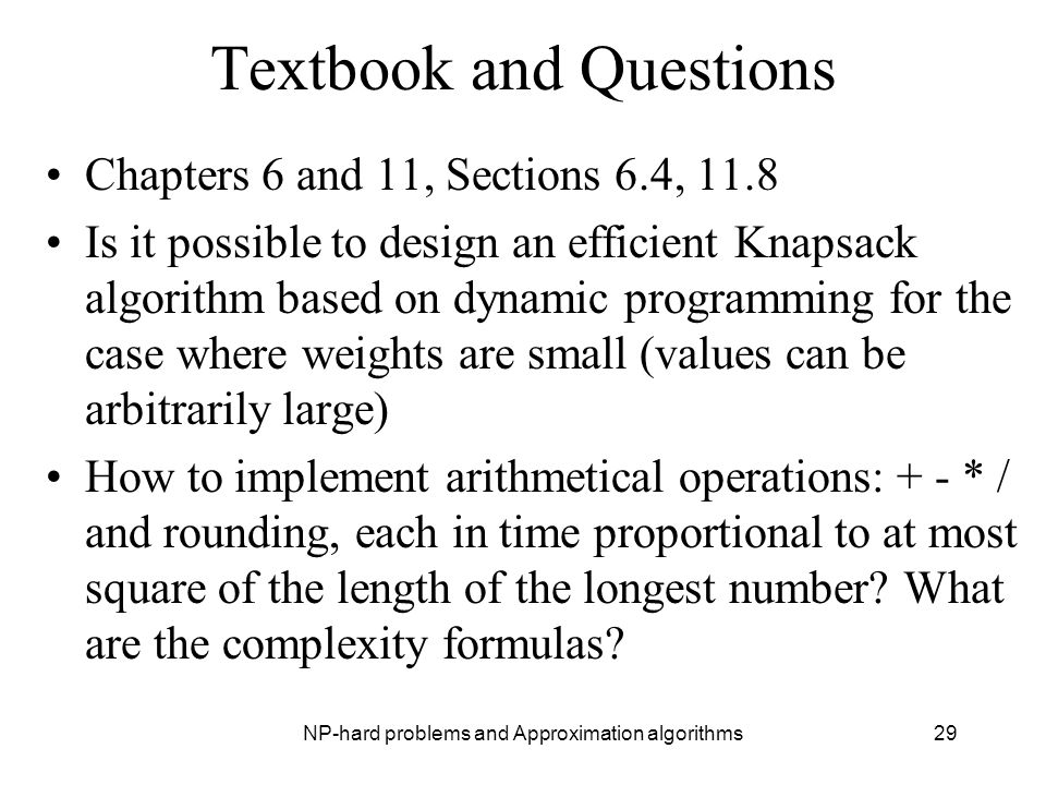 Textbook and Questions