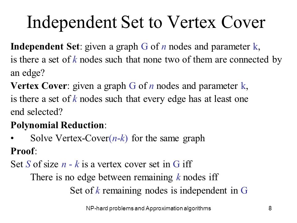 Independent Set to Vertex Cover