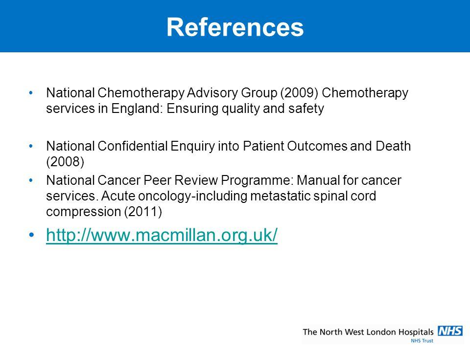 References http://www.macmillan.org.uk/