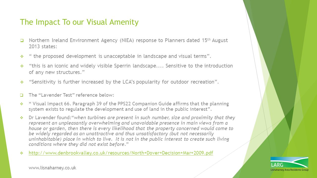The Impact To our Visual Amenity