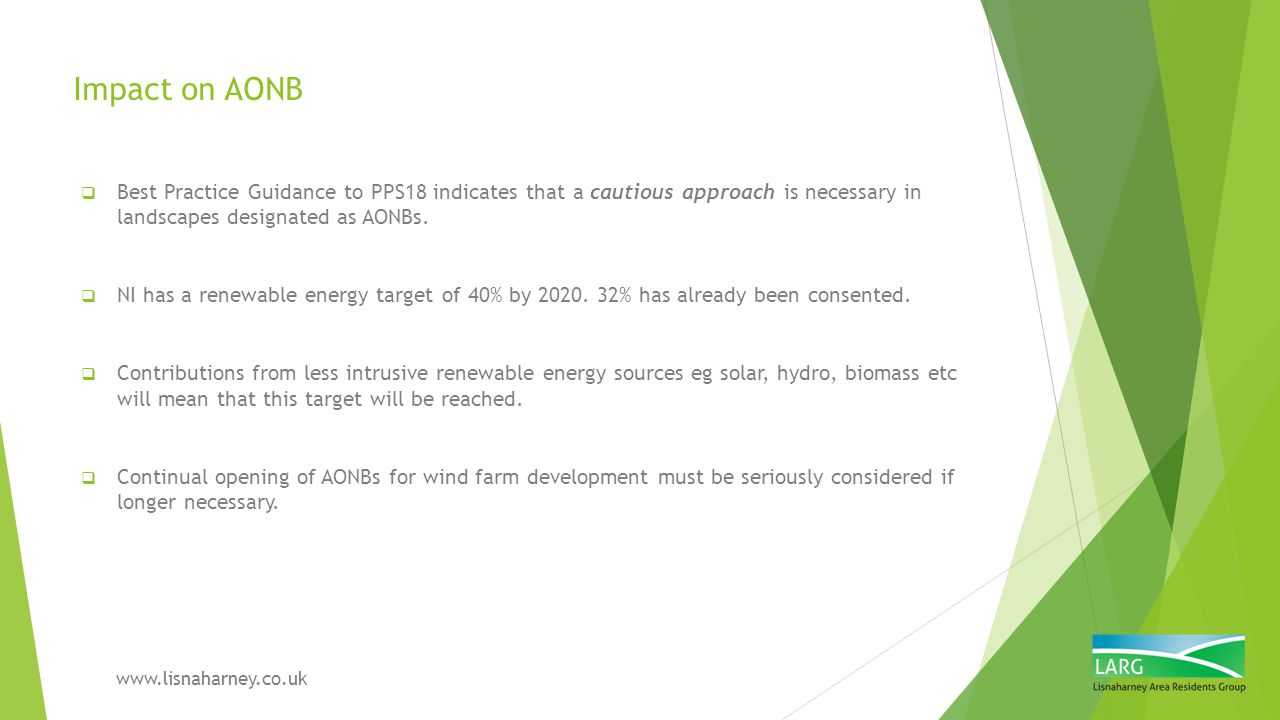 Impact on AONB Best Practice Guidance to PPS18 indicates that a cautious approach is necessary in landscapes designated as AONBs.