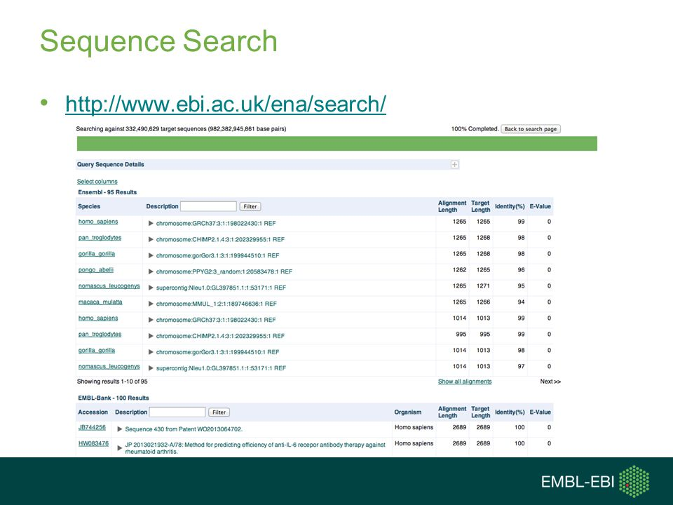 Sequence Search http://www.ebi.ac.uk/ena/search/