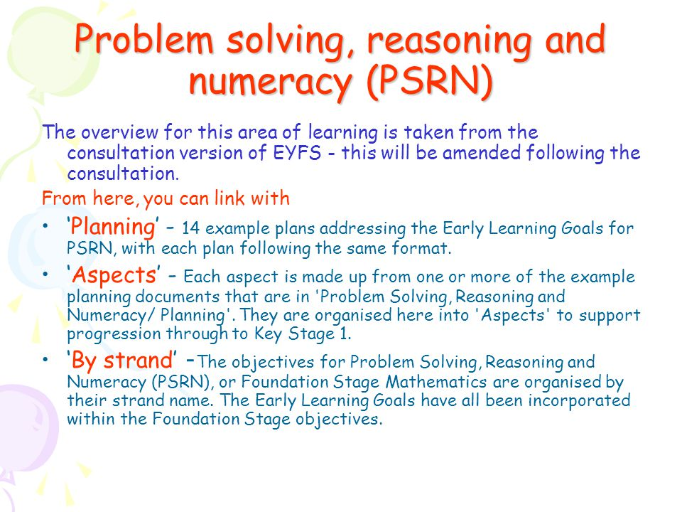Problem solving, reasoning and numeracy (PSRN)