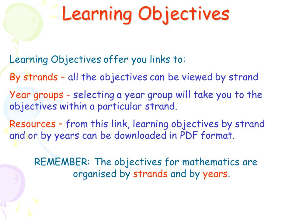 Learning Objectives Learning Objectives offer you links to: