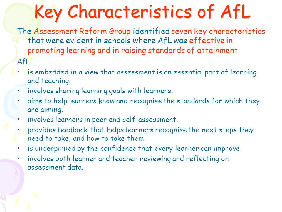 Key Characteristics of AfL