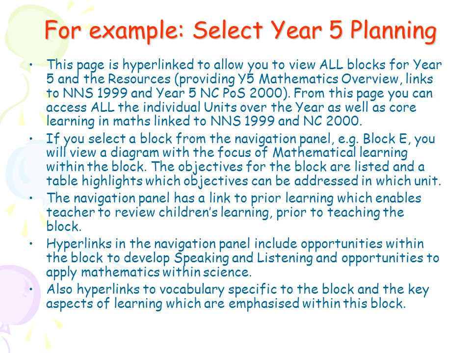 For example: Select Year 5 Planning