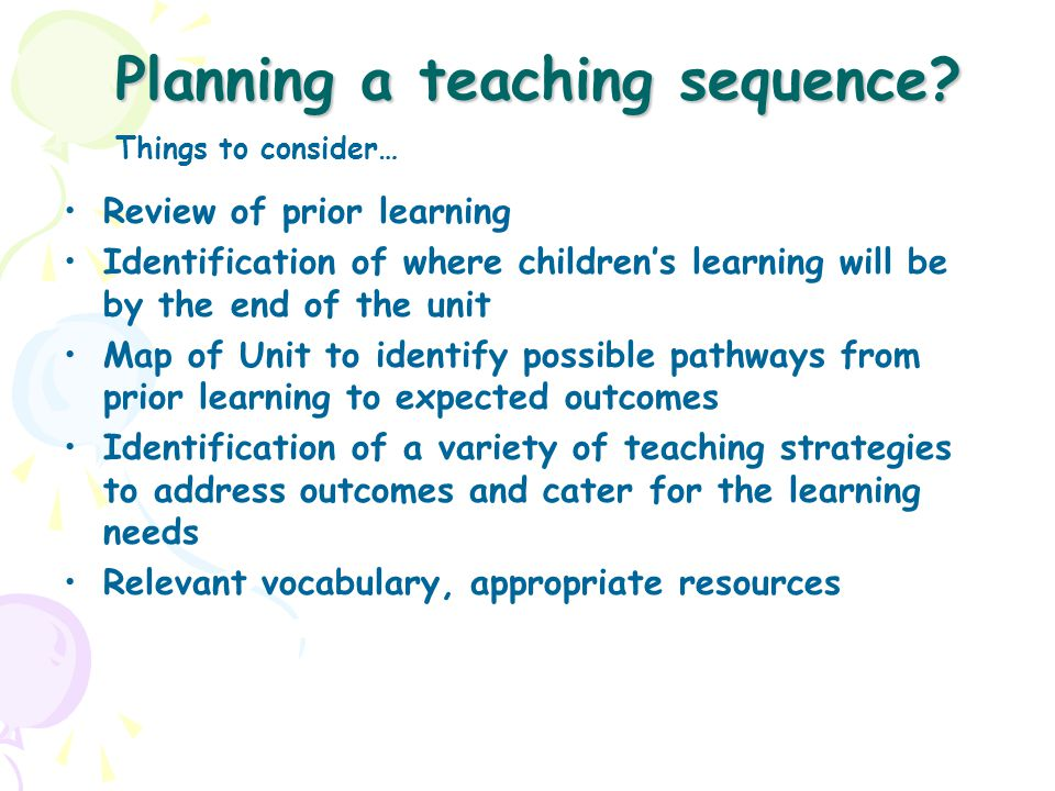 Planning a teaching sequence