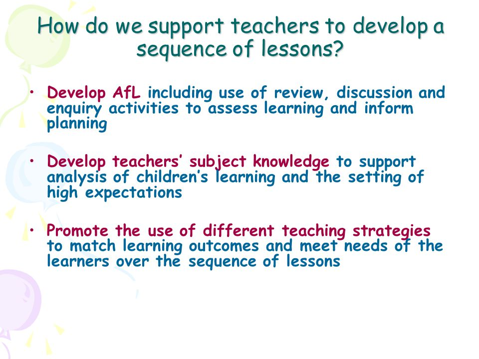 How do we support teachers to develop a sequence of lessons