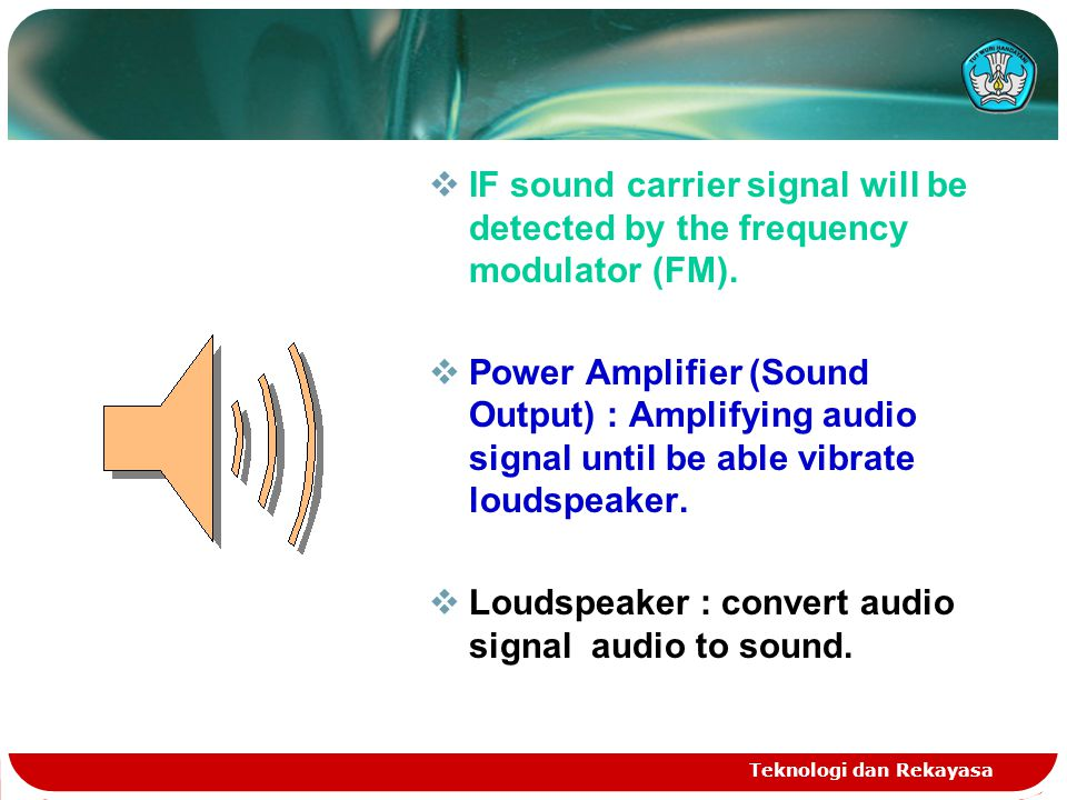 Loudspeaker : convert audio signal audio to sound.