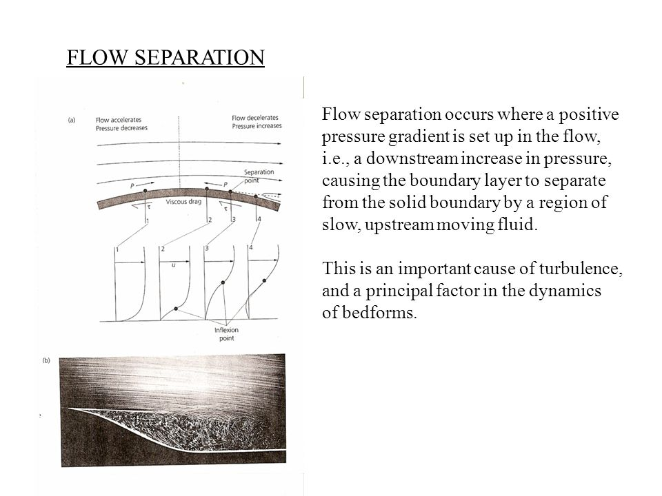 FLOW SEPARATION Flow separation occurs where a positive