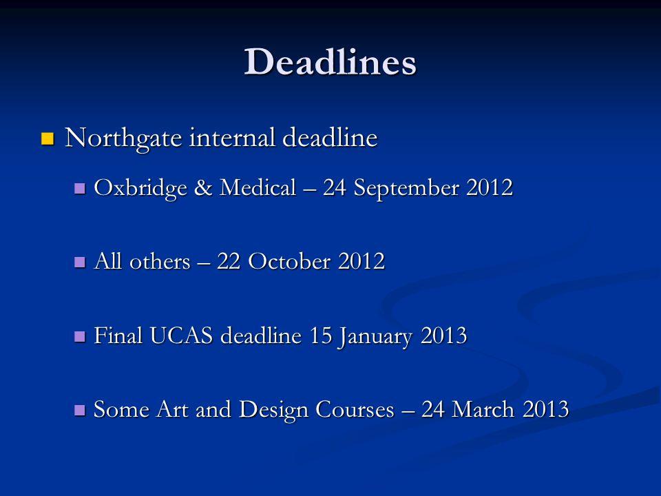 Deadlines Northgate internal deadline