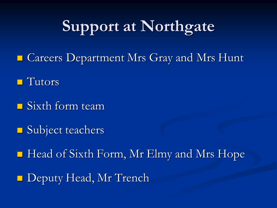 Support at Northgate Careers Department Mrs Gray and Mrs Hunt Tutors