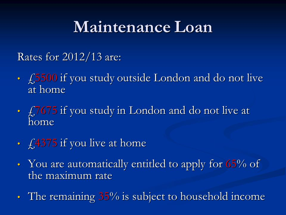Maintenance Loan Rates for 2012/13 are: