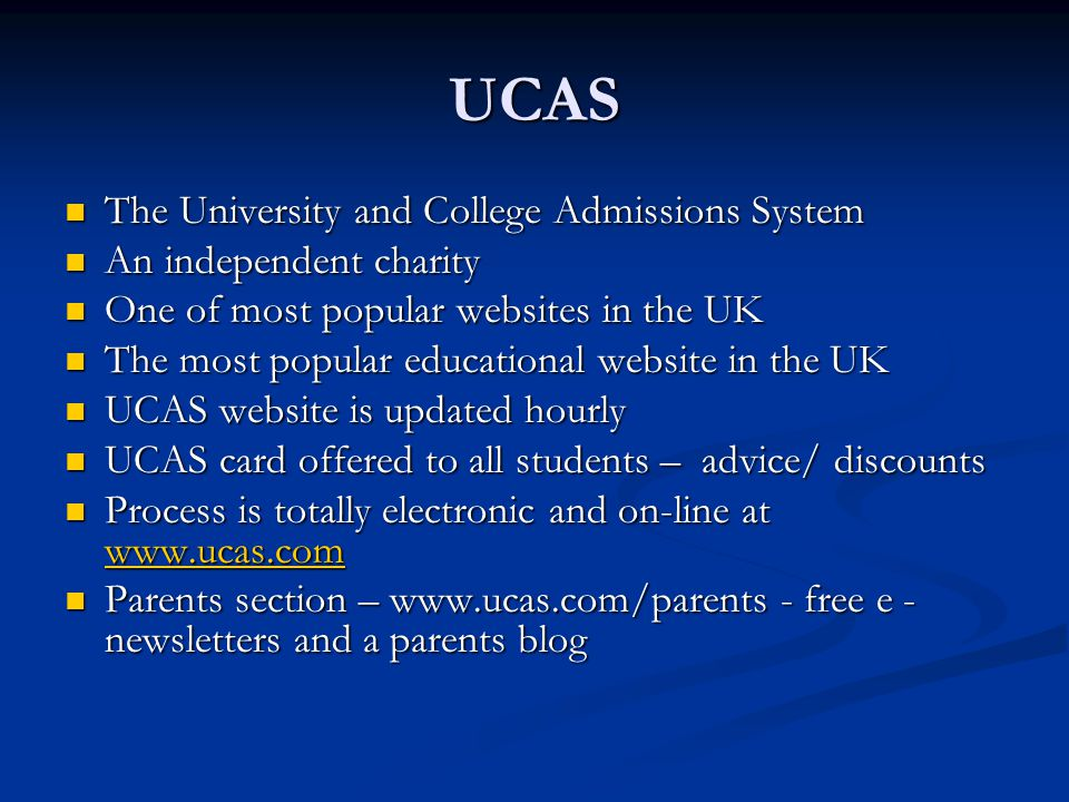 UCAS The University and College Admissions System