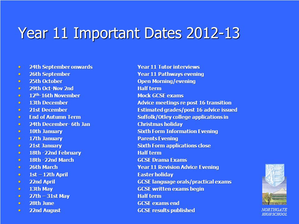 Year 11 Important Dates 2012-13 24th September onwards Year 11 Tutor interviews. 26th September Year 11 Pathways evening.