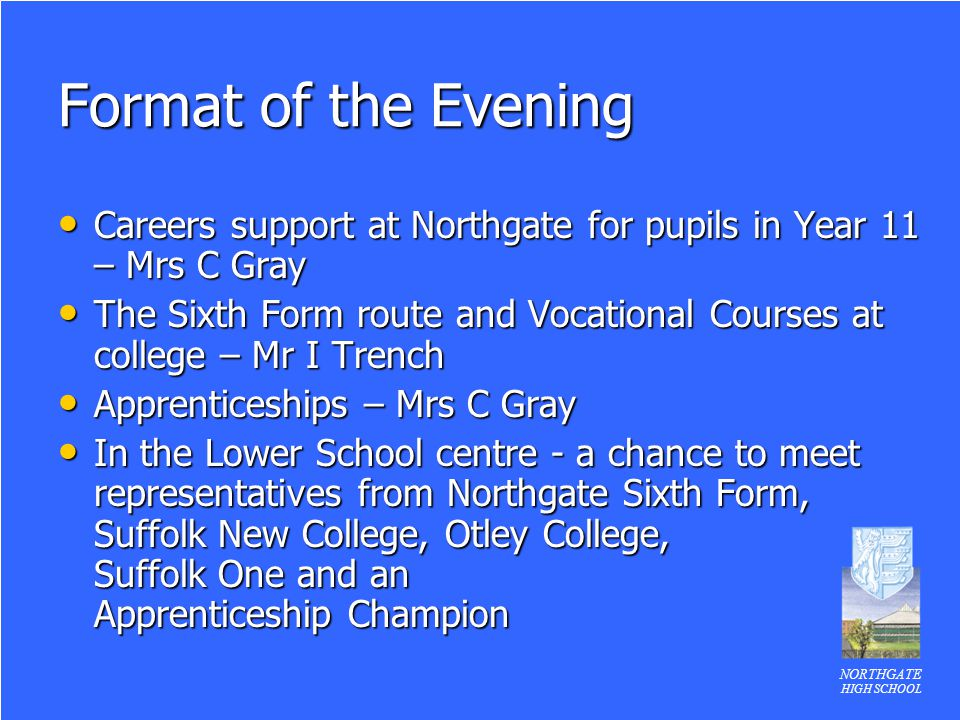 Format of the Evening Careers support at Northgate for pupils in Year 11 – Mrs C Gray.