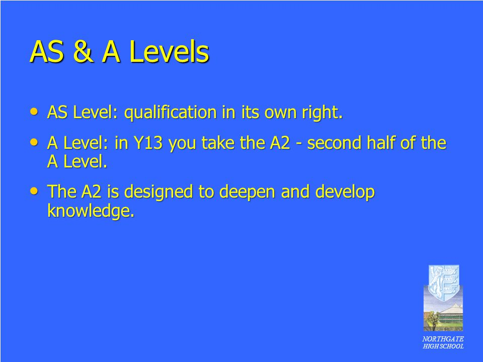 AS & A Levels AS Level: qualification in its own right.