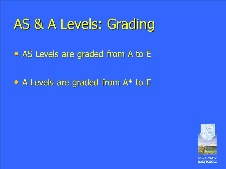 AS & A Levels: Grading AS Levels are graded from A to E