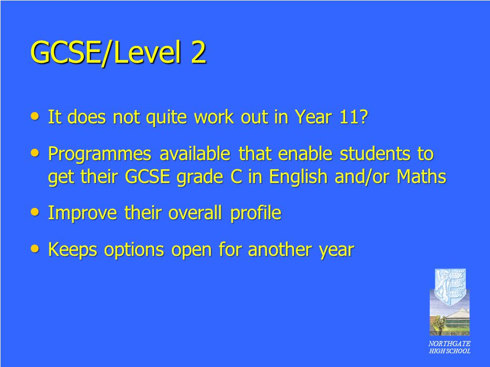 GCSE/Level 2 It does not quite work out in Year 11