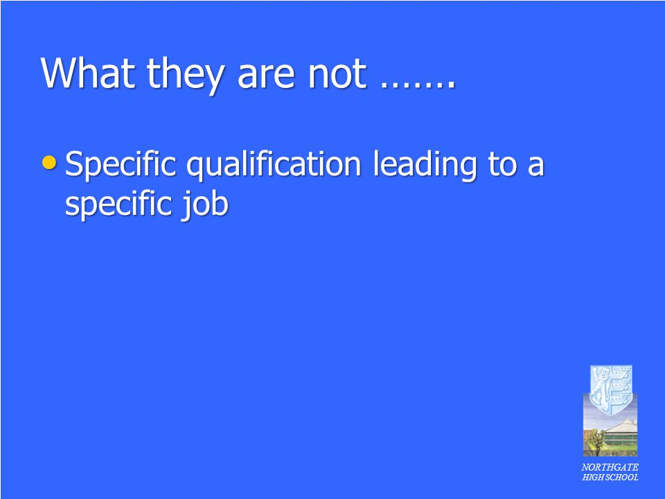 What they are not ……. Specific qualification leading to a specific job