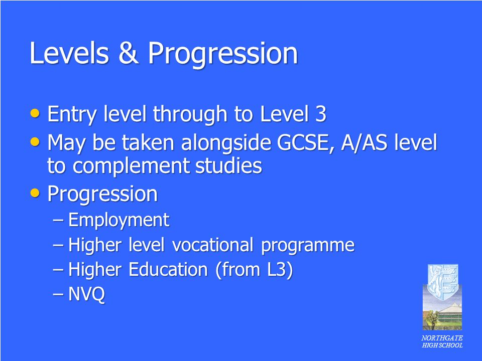 Levels & Progression Entry level through to Level 3