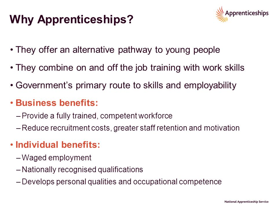 Why Apprenticeships They offer an alternative pathway to young people