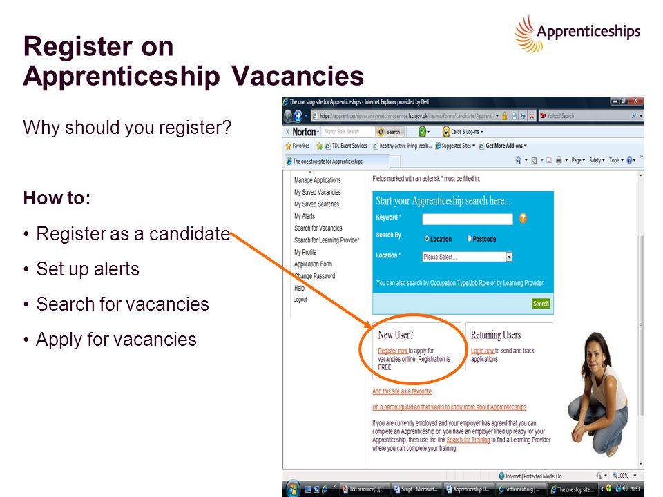 Register on Apprenticeship Vacancies