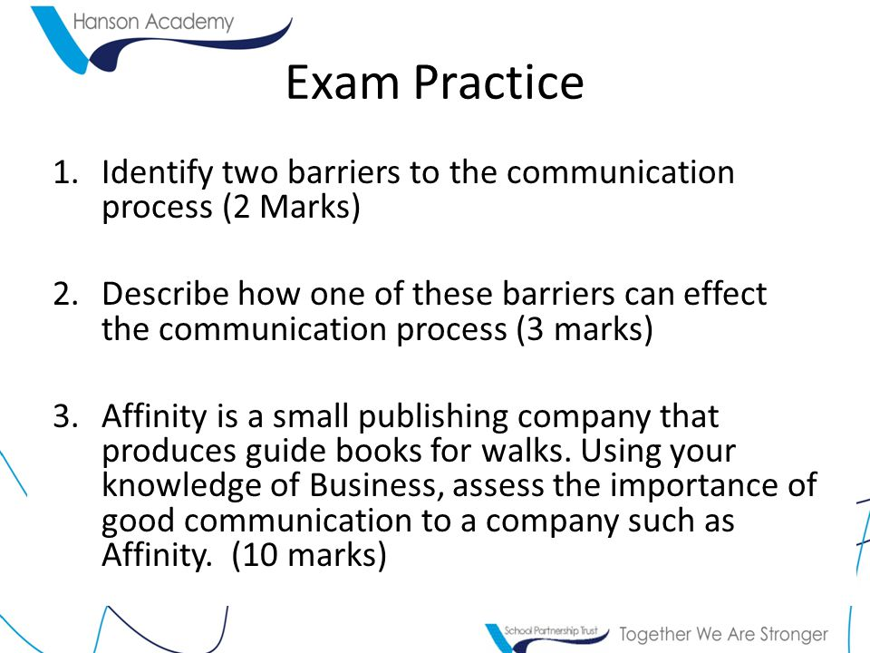 Exam Practice Identify two barriers to the communication process (2 Marks)