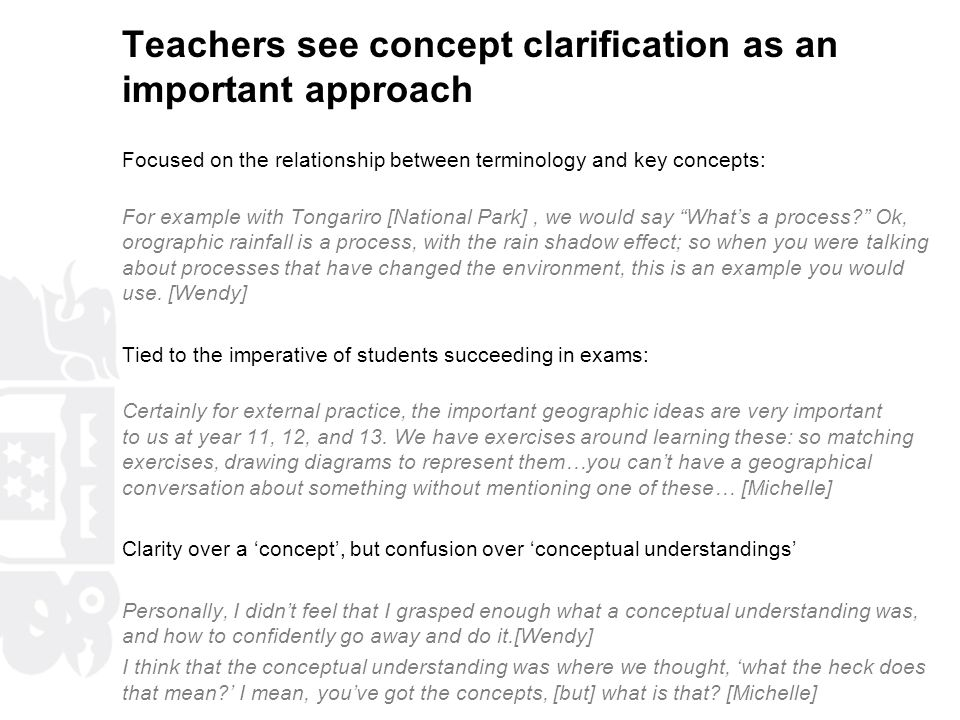 Teachers see concept clarification as an important approach