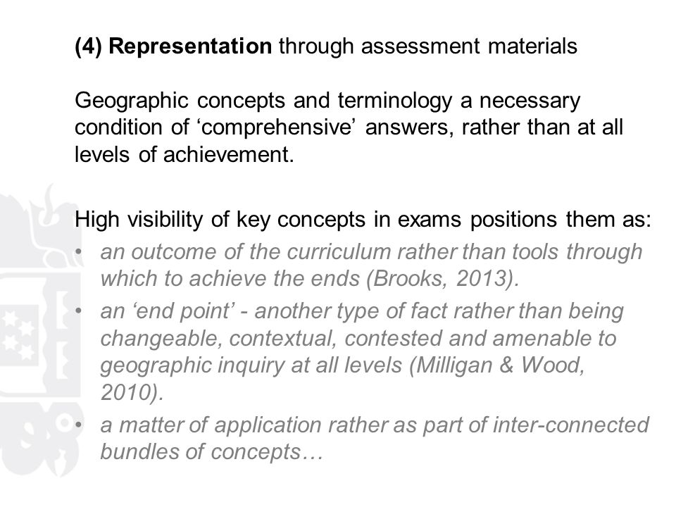 (4) Representation through assessment materials