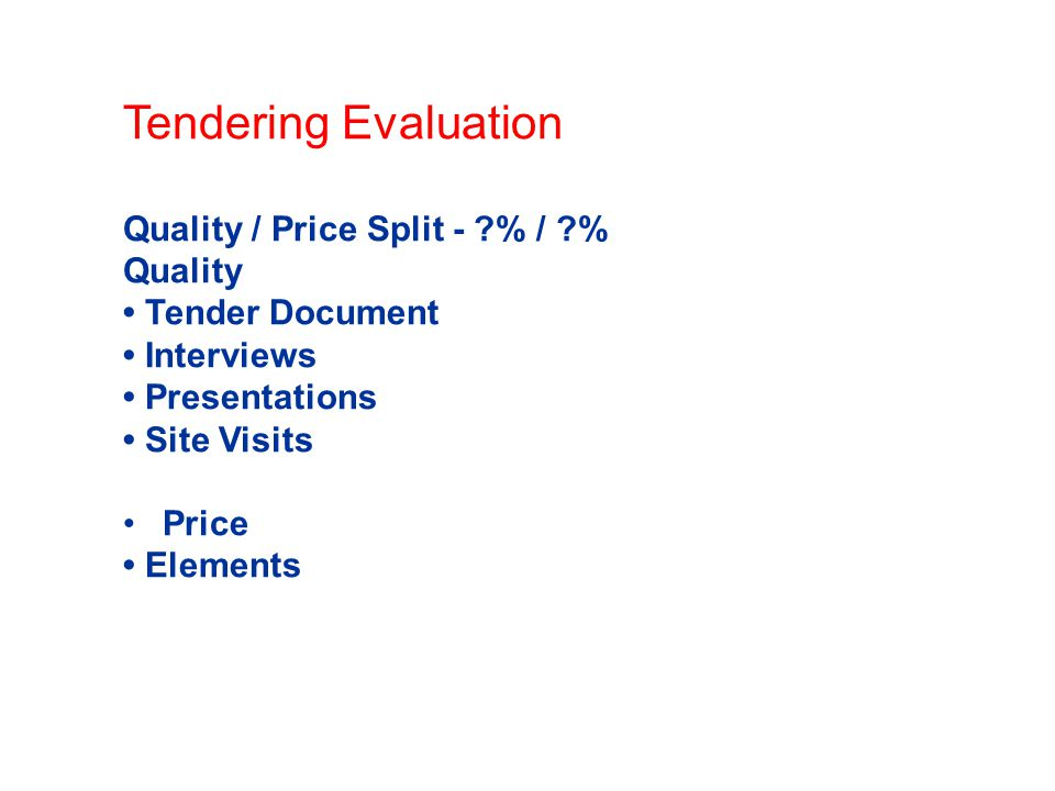 Tendering Evaluation Quality / Price Split - % / % Quality