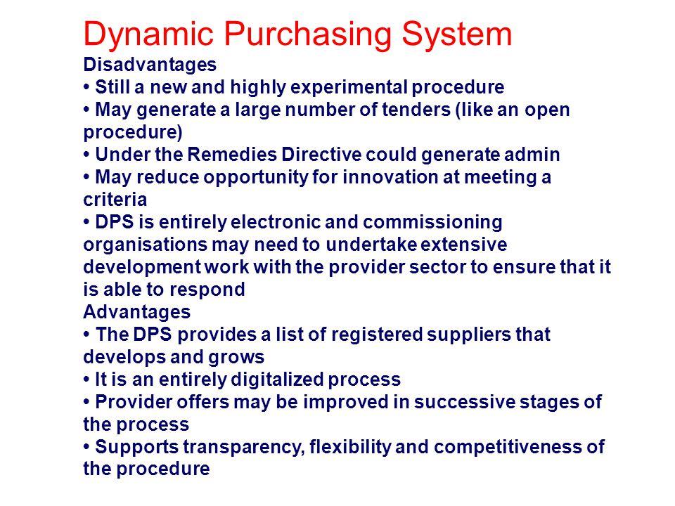Dynamic Purchasing System