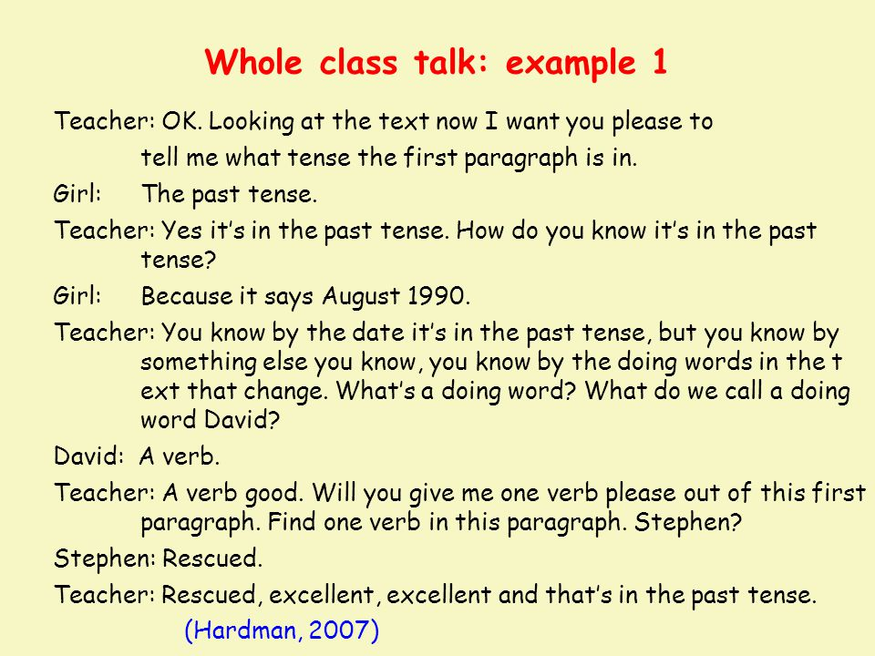 Whole class talk: example 1