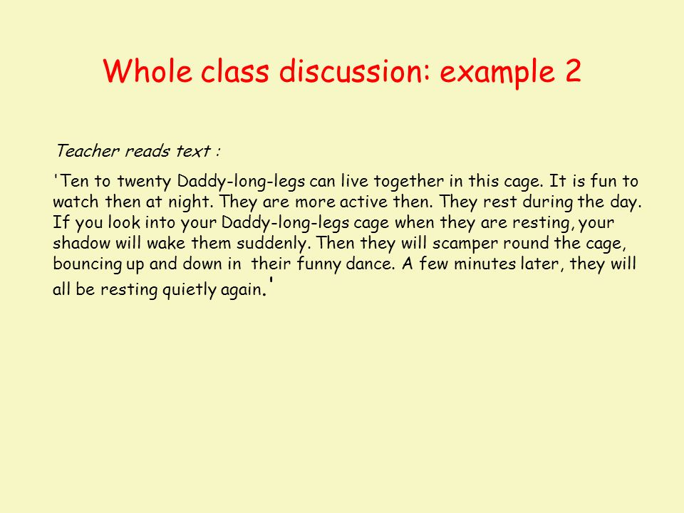 Whole class discussion: example 2