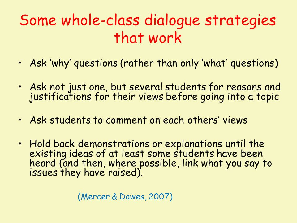 Some whole-class dialogue strategies that work