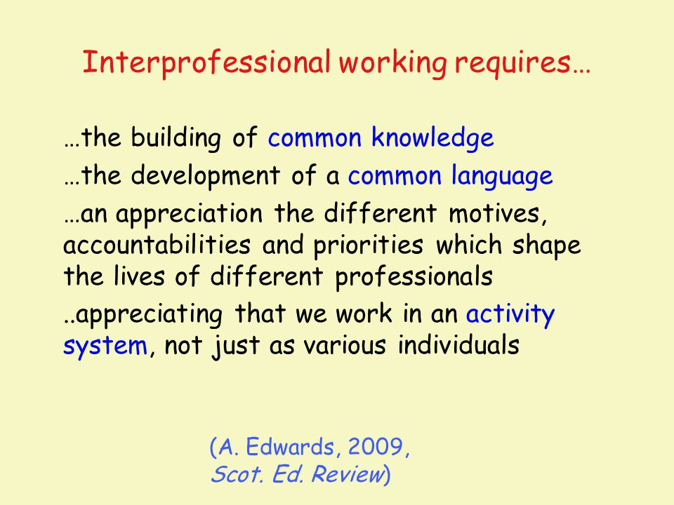 Interprofessional working requires…