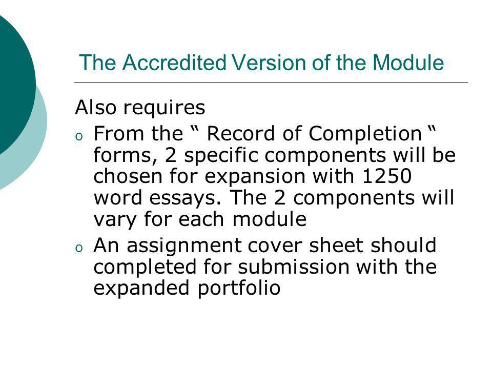 The Accredited Version of the Module