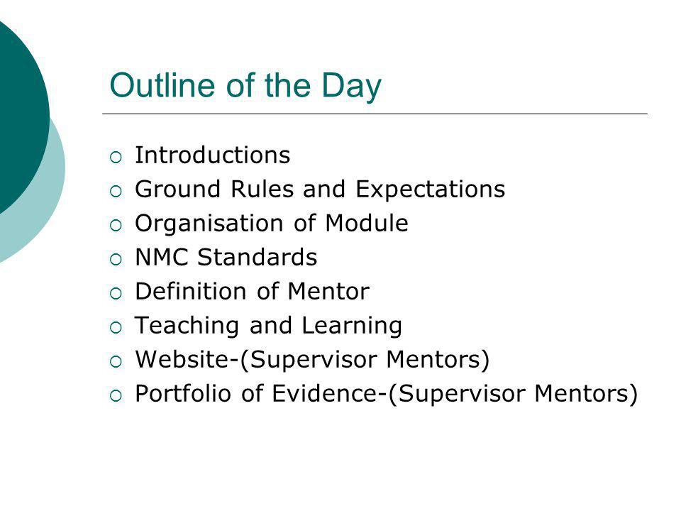 Outline of the Day Introductions Ground Rules and Expectations