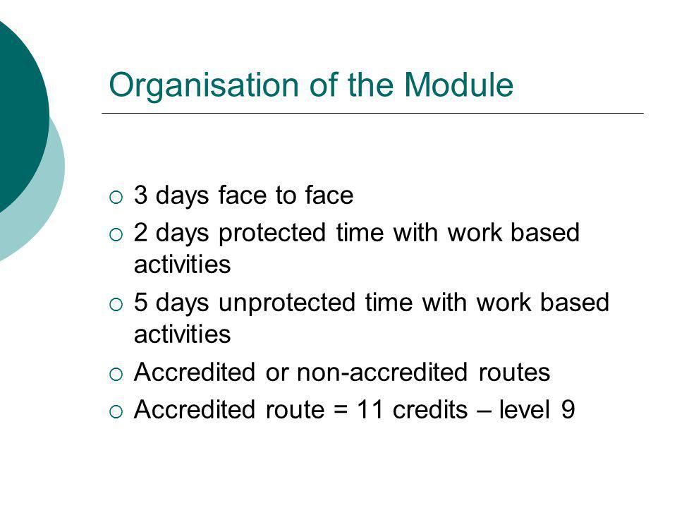 Organisation of the Module