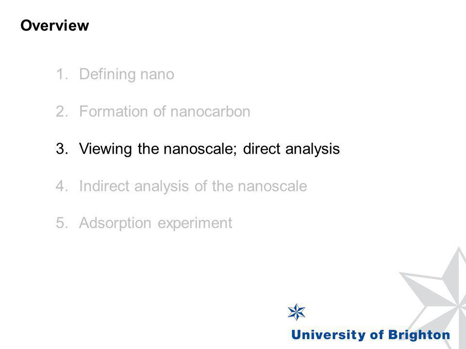 Overview Defining nano. Formation of nanocarbon. Viewing the nanoscale; direct analysis. Indirect analysis of the nanoscale.