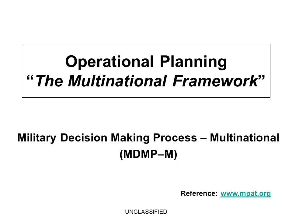 Operational Planning The Multinational Framework