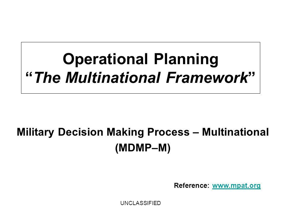 Operational Planning The Multinational Framework