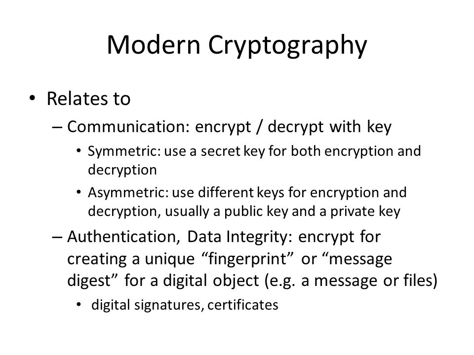 Modern Cryptography Relates to